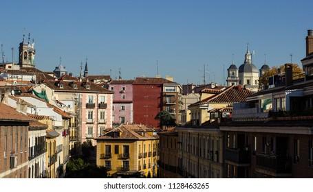 The buildings in Madrid, Spain