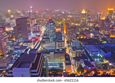 buildings and main road in bangkok,thailand