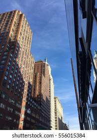 Buildings of Manhattan with blue sky, New York