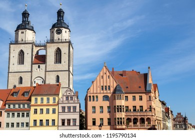 Buildings near the marketplace and Stadtkirche in Wittenberg,Germany