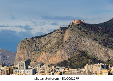 Buildings near Palermo's port with Mount Pellegrino and Utveggio Castle in the background, Palermo, Sicily, Italy