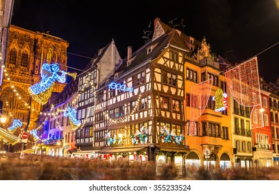 Buildings near Strasbourg Cathedral before Christmas - France