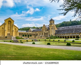 The buildings of the new Trappist Cistercian Orval Abbey, Abbaye Notre-Dame d'Orval, in Villers-devant-Orval, Province of Luxembourg, Belgium