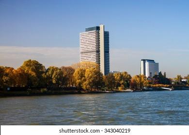Buildings next to river Rhine in Bonn, Germany