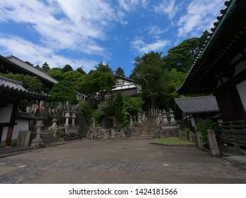 the buildings of Nigatsudo temple at Todaiji temple in Nara, Japan