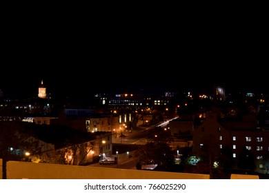 Buildings at night in Columbia Missouri.