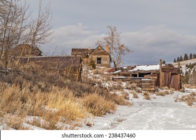 Buildings in an old mining town in Montana that is now a ghost town.
