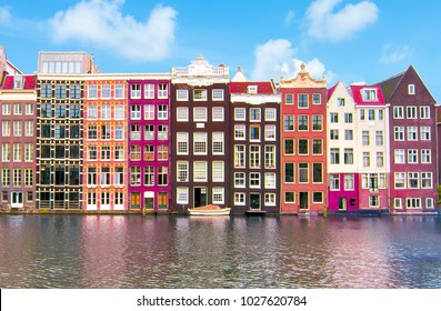 Buildings on Damrak canal, Amsterdam architecture, Netherlands