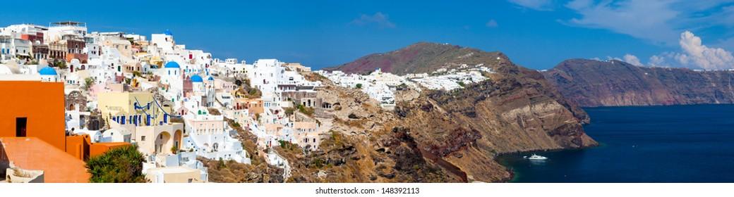Buildings on the famous caldera at Oia Santorini Greece