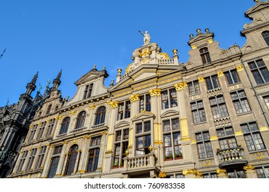 Buildings on the Grand Place in Brussels. This square resisted the attacks and bombings. Some buildings were rebuilt in the 1604s.