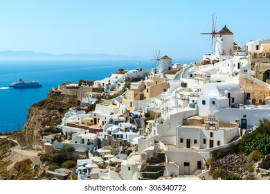 Buildings on the hill in the famous Oia town, Santorini island, Greece
