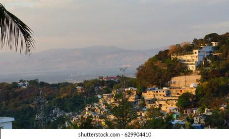 Buildings on a hill. Pation Ville, Haiti.
