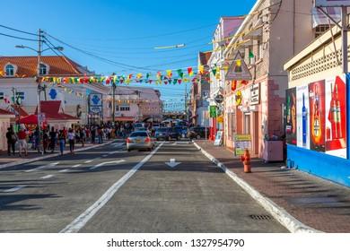 Buildings on Melville Street in St George's, Grenada, Windward Islands, West Indies, Caribbean, Central America 2 February 2019