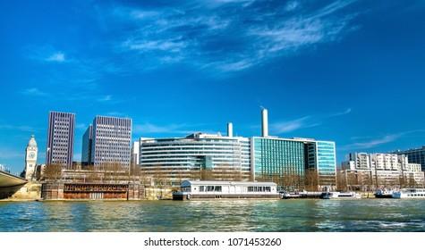 Buildings on Quai de Bercy near the Seine in Paris, the capital of France