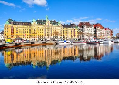 Buildings on Strandvagen embankment, Stockholm, Sweden