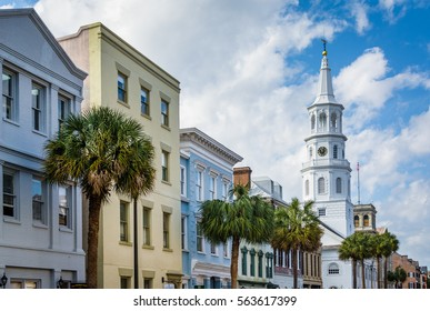 Buildings and palm trees along Broad Street, in Charleston, South Carolina.