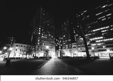 Buildings at Rittenhouse Square at night, in the Center City of Philadelphia, Pennsylvania.