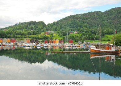 Buildings at a rural, Boathous in Norway Norwegian fjord next to Andalsnes