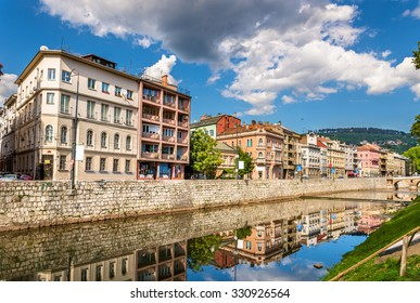 Buildings in Sarajevo over the river Miljacka - Bosnia and Herzegovina