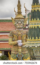 Buildings and sculptures on the territory of the Great Royal Palace in Bangkok (Thailand)