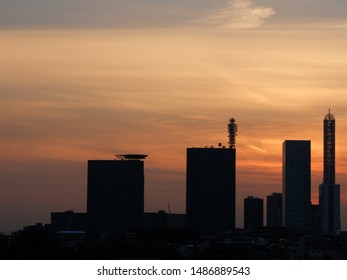 Building's silhouette at the sunset