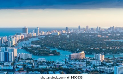 Buildings and skyline of Miami Beach at sunset.