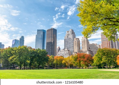 Buildings and skyscrapers of New York City from Central Park in foliage season.