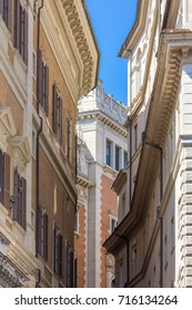 Buildings in small street in Rome, Italy