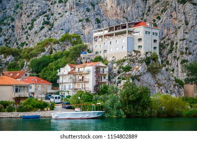 buildings in the small town Omis, Croatia