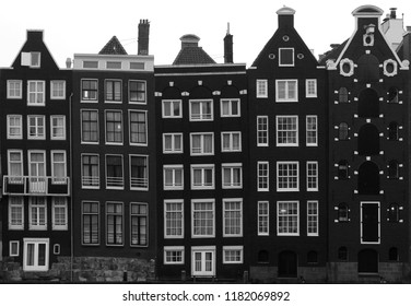 Buildings squashed together along the canals in Amsterdam, Holland.