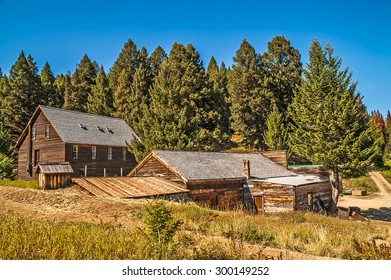 Buildings that have been preserved to save the history of a mining town in the mountains of Montana