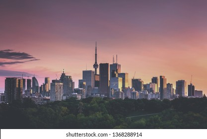 Buildings in the Toronto city at night, Ontario, Canada