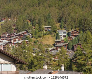 Buildings of the town of Zermatt at the middle of September. Zermatt is a famous mountaineering and ski resort in the Swiss canton of Wallis.