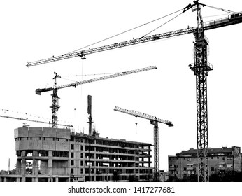 Buildings under construction in process,black and white