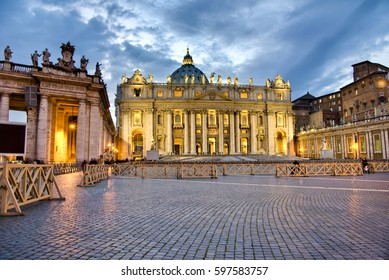 Buildings in the Vatican City in late evening