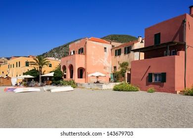 buildings and views of Mediterranean Varigotti village in Italy.