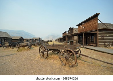 buildings and wagons in historic cowboy ghost town, Wyoming