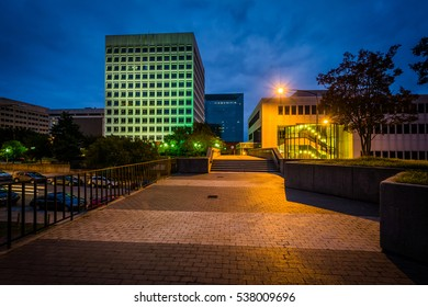 Buildings and walkway in downtown at night, in Winston-Salem, North Carolina.