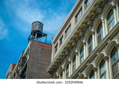 Buildings and water tower in the Soho district of New York City