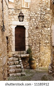 Buildings with windows and doors in the quaint little French hilltop village of Saint-Paul de Vence, Southern France,  Alpes Maritimes, next to the Mediterranean sea