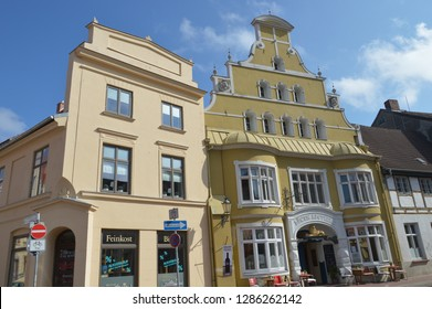 buildings in Wismar. Mecklenburg Western Pomerania, Germany, april-30-2017