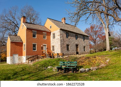 Built in 1758 in Frederick Maryland, Schifferstadt House (now serving as an Architectural museum) is the oldest building in the city and is among the examples of German-Georgian colonial architecture