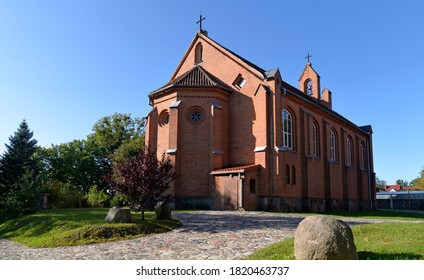 built in 1864 in the neo-Gothic style, the Catholic church dedicated to the elevation of the holy cross in Ukta in warmia and masuria in Poland - Shutterstock ID 1820463737