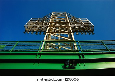 Built in 1912, Fenway Park is one of the best known and most historic landmarks in the city of Boston. View of one of the light towers inside of the park.