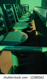Built in 1912, Fenway Park is one of the best known and most historic landmarks in the city of Boston. This is a detail of the seating area in the new Green Monster addition.