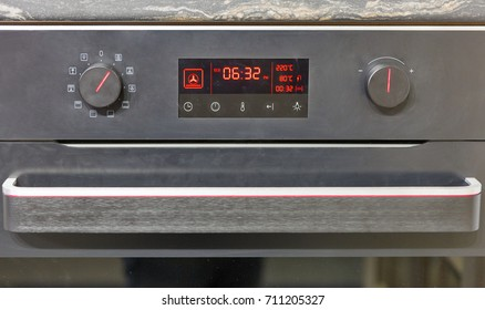 built in electric oven settings panel closeup