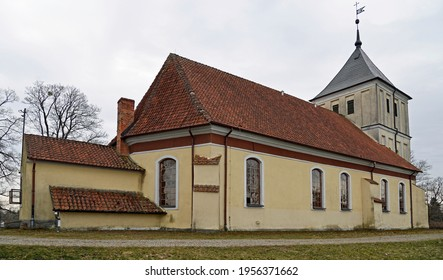 built in the Gothic style in 1719, currently the Catholic Church of Our Lady of Rosary in Szarejki in Masuria, Poland. The photos show a general view of the temple - Shutterstock ID 1956371662