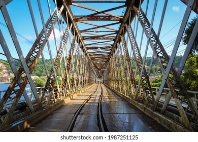 Built with iron, the historic Dom Pedro II bridge was inaugurated in July 1885, a train line passed through it and is located between the cities of Cachoeira and Sao Felix, in the Reconcavo Baiano - Shutterstock ID 1987251125