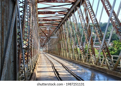 Built with iron, the historic Dom Pedro II bridge was inaugurated in July 1885, a train line passed through it and is located between the cities of Cachoeira and Sao Felix, in the Reconcavo Baiano - Shutterstock ID 1987251131
