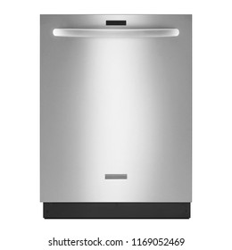 Built-In Dishwasher Machine Isolated on White Background. Front View of Modern Fingerprint Resistant Stainless Steel Dishwasher Range. Domestic and Kitchen Appliances